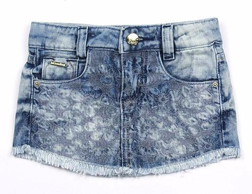 Saia Jeans Infantil Com Bordados Crawling