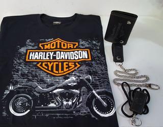 Conjunto Camiseta Carteira Chaveiro Corrente Harley Davidson