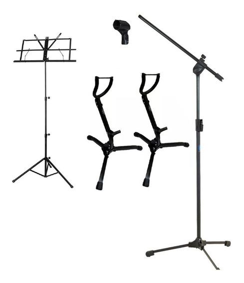Pedestal P/ Microfone + Estante Partitura + 2 Suporte P/ Sax