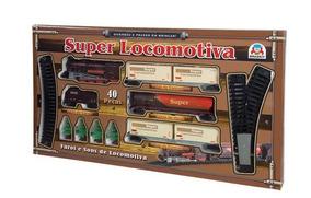 Super Locomotiva 40 Peças Com Luz E Som - Braskit