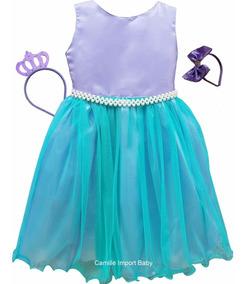 Vestido Infantil Ariel Pequena Sereia Luxo 4 A 12 E 2 Tiaras