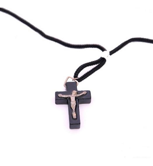 Cruz Crucifixo Em Madeira Com Cristo Colar Terço Cordão