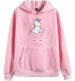 Blusa Moletom Rosa Unicórnio Fofo Casaco Feminino Infantil