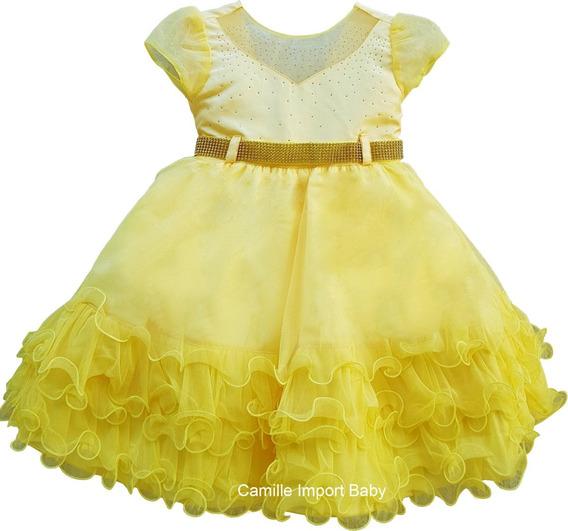 Vestido Infantil Festa Luxo Bela Minnions Abelinha Com Tiara