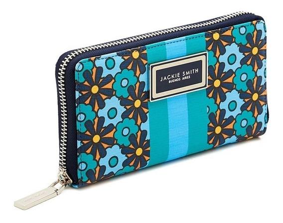 Billetera Wallet Jackie Smith Flowers Verde Celeste Cierre