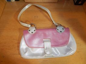 Bolsa Vintage Couro Rosa E Branco