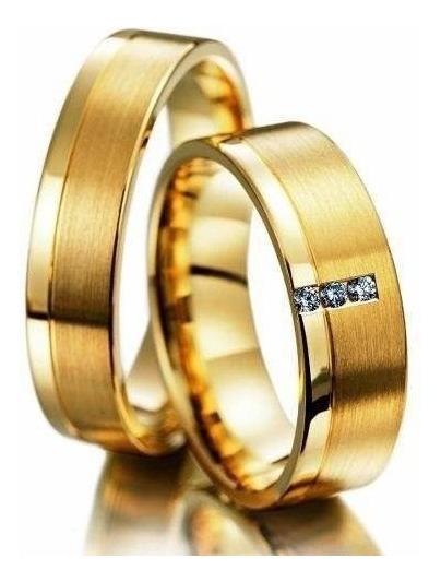 Par Aliança Ouro 18k 750 4mm 5grs Reta Com 3 Diamantes