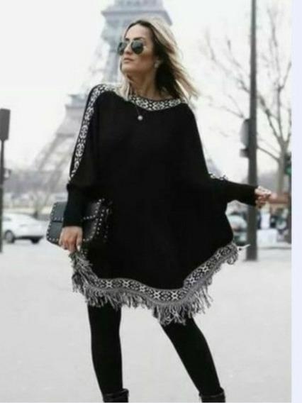 Poncho Blusa De Frio Em Tricot Veste G A Plus Size Feminino