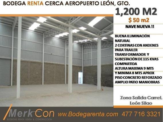 Bodega Renta 1,200 M2 Nueva Rumbo Al Aeropuerto, León, Gto., México.