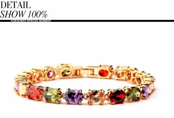 Pulseira Luxo Com Pedras Coloridas Alta Qualidade