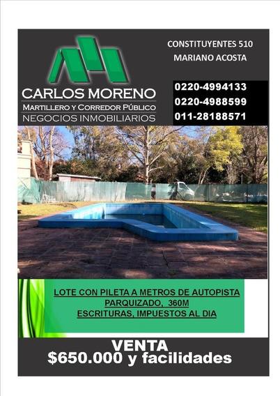 Lote Con Pileta A Metros De Autopista !!