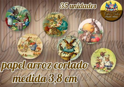 Páscoa Vintage Papel De Arroz Redondo 35 Unidades 3,8 Cm