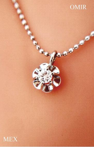 Dije Diamante Oro Blanco 14k