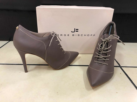Ankle Boot Jorge Bischoff Couro Cinza - 38 Sapato Bota