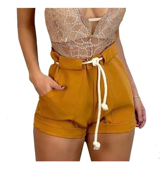 Shorts Feminino Cintura Alta Bengaline Cordão Bolsos Moda