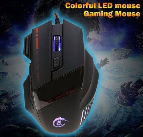 Mouse Gamer Hxsj 3200 Dpi  Rgb 7 Botones Óptico Usb Ergonómi