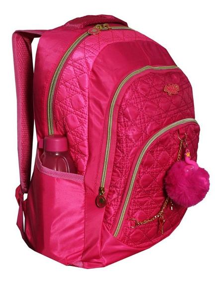 Mochila Feminina Escolar Notebook Pompom Chaveiro Flamingo Faculdade Michele Hobbs Infantil Juvenil Mh3971