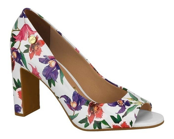 Sapato Scarpin Peep Toe Salto Grosso Vizzano 1297100 Floral
