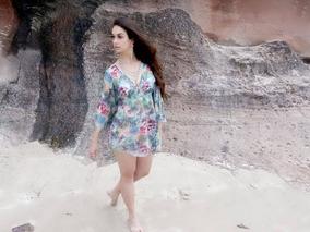 Saída De Praia Estampada Colorida Moda Praia Nova