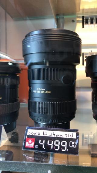 Lente Sigma Af 12-24mm Usada Para Nikon Fx Grande Angular.