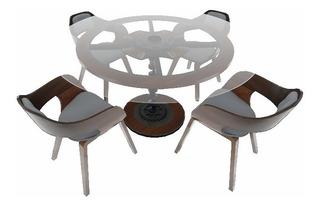 Mesa De Diseñador Meteor Con Vidrio Templado