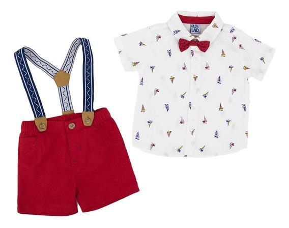 Short Y Camisa Incluye Tirantes Y Moño Para Bebe Niño 04908