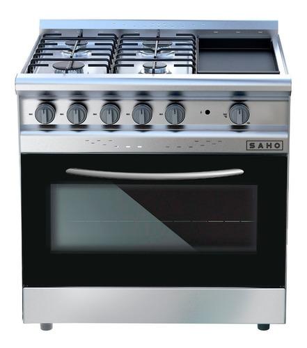 Imagen 1 de 2 de Cocina industrial Saho Jitaku Grill 820 a gas/eléctrica 4 hornallas  acero inoxidable 220V puerta  con visor 304L