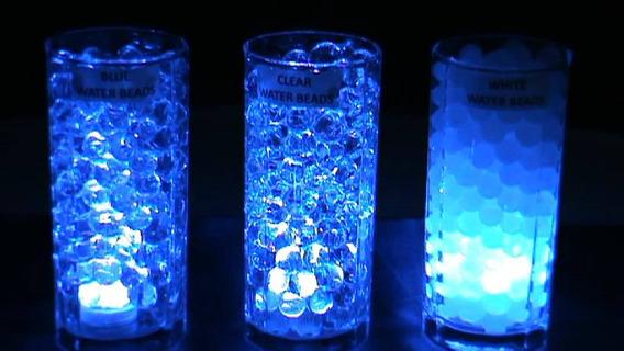 20 Luz Palito Vela Azul Led + 20 Sobres Hidrogel Transprente