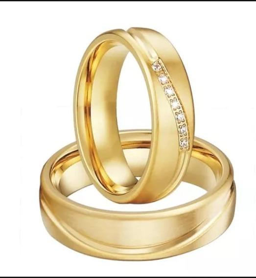 Alianças De Casamentos E Noivado Banhadas A Ouro Com Pedras