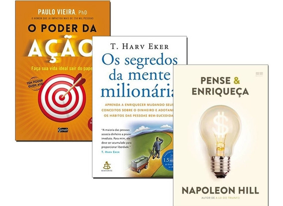Livro Poder Ação+ Pense Enriqueça+ Segredos Mente Milionária