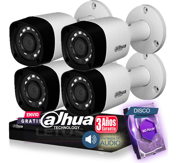 Kit Seguridad Dahua Hdcvi Dvr 4 Full Hd 4 Camaras Disc 1tb