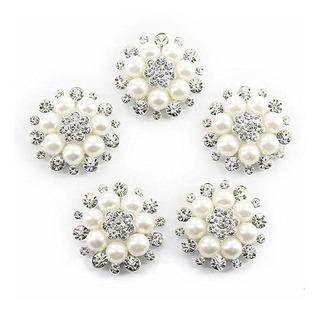 Ultnice Botones Flores Perlas Artificiales Manualidades 10 U