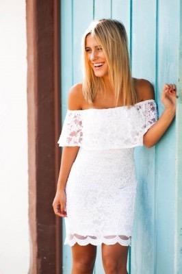 Vestido Feminino Curto De Renda Branca