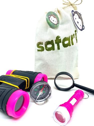 Imagem 1 de 3 de Kit Safari Rosa Explorador Aventura Ecobag Binóculo Lanterna