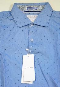 Camisa Cactus Man S Azul Slim Fit Rayas Cleotildes Closet