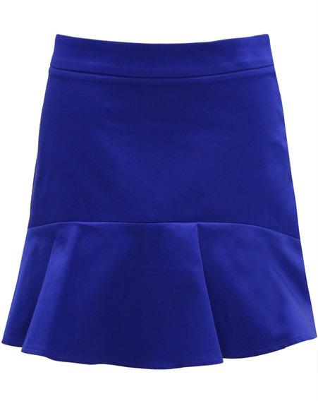 Minissaia Curta Godê Drapeada Mini Saia Babado Feminina Azul