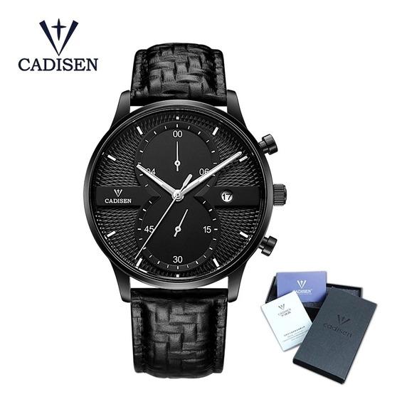 Relógio Masculino Cadisen Em Couro Original