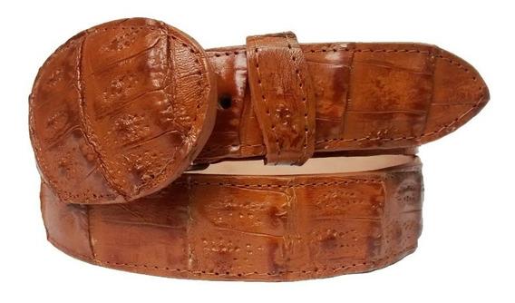 Cinturon Vaquero De Piel Cocodrilo Hebilla Ovalada Víbora