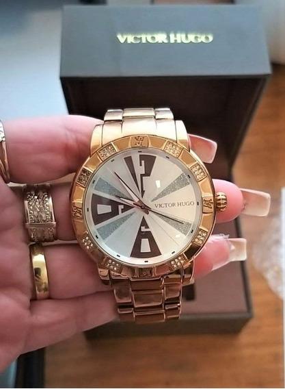 Relógio Victor Hugo Rosê Vh 10108 Original Maravilhoso!