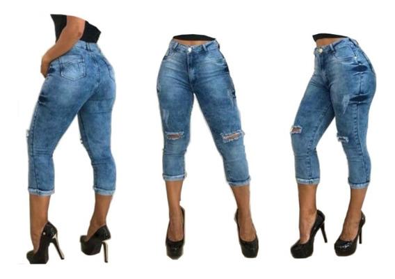 Calça Jeans Cintura Alta Capri Levanta Bumbum Na Promoção