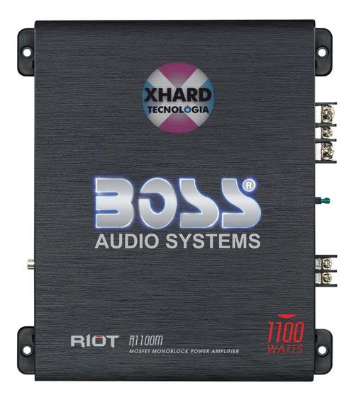 Potencia Boss R 1100 Watts Monoblock 4 Ohms Riot Slim Con Led Control De Subwoofer Mejor Que Taramps