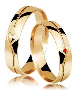 Par Alianças Coração 8 Gramas Com Rubi E Brilhante Ouro 18k