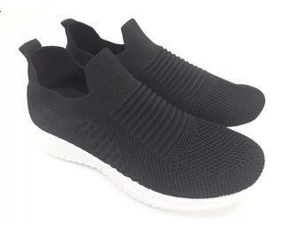 Zapatillas Dama Wake Elastizadas Sneaker Negra - Wk002