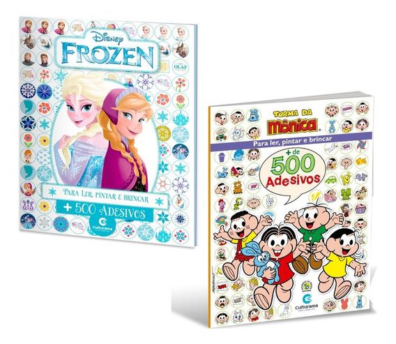 Kit 2 Livros 500 Adesivos - Turma Da Monica + Frozen