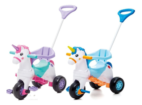 Triciclo Infantil Com Empurrador Motoca Carrinho Calesita