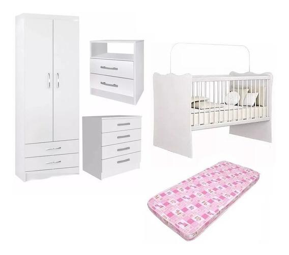 Juego Dormitorio Infantil Rosado Ropero Cuna Cómoda Colchón