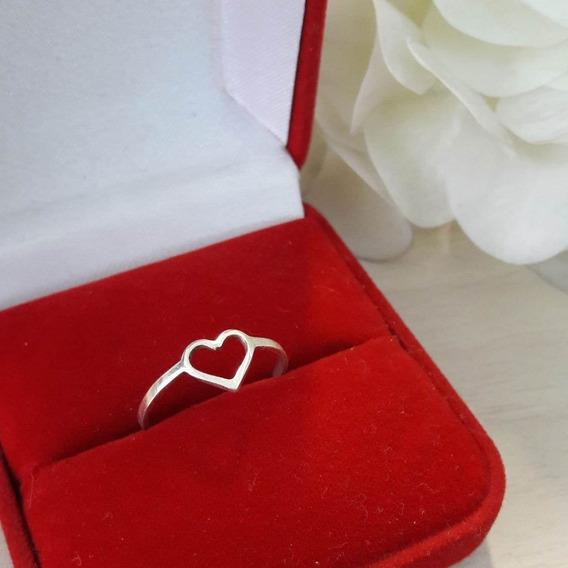 Anel Feminino Coração Vazado Prata 950