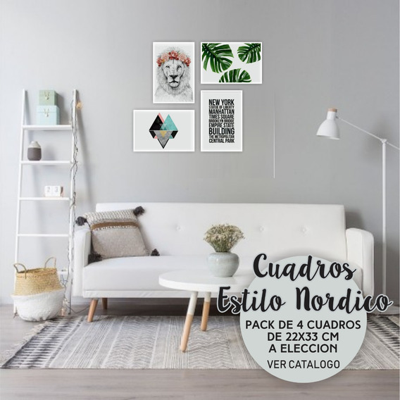 Cuadros Nórdicos Decorativos Modernos Frases X 4 Un 33x22 Cm