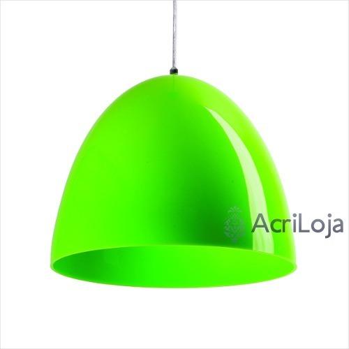 Lustre / Pendente Lanna Em Acrílico Verde 32 X 26 Cm