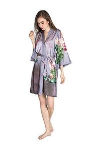 Old Shanghai Bata Kimono Corto Para Mujer - Flores En Acu